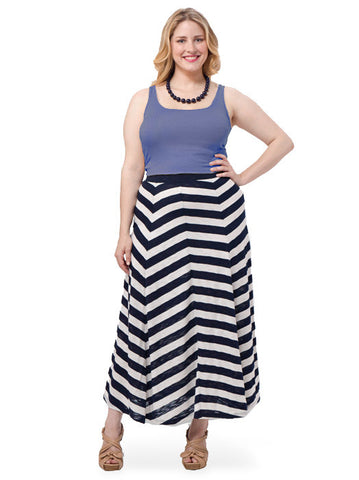 Chevron-Striped Maxi Skirt