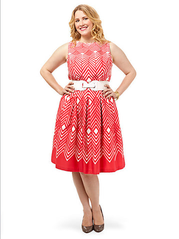 Red Chevron Belted Dress