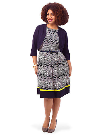 Navy & Yellow Chevron Belted Dress