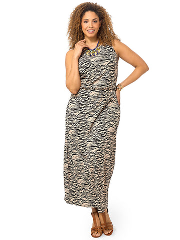Multi Tiger Print Sleeveless Maxi Dress