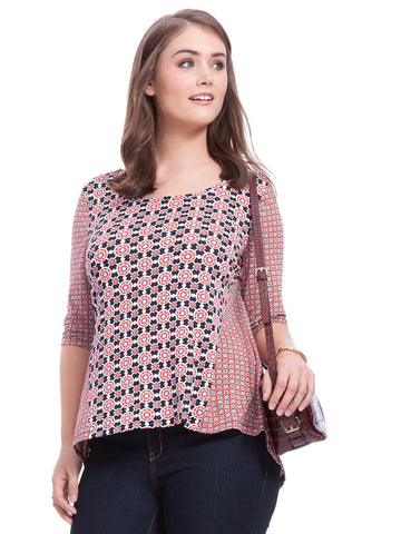 Colorblock Tunic in Medallion Print