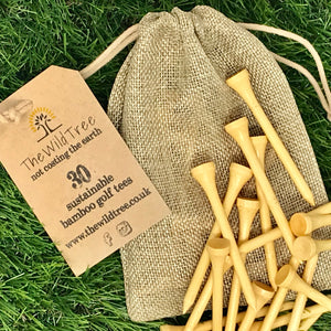 30 x Sustainable Bamboo Golf Tees in Jute Drawstring bag - The Wild Tree