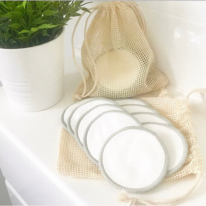 10 Reusable Bamboo Facial Cleansing Pads + Cotton Mesh Laundry Bag