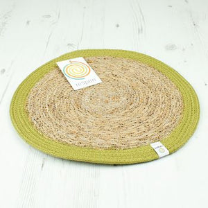 Round Seagrass & Jute Placemat - Natural/Green - The Wild Tree