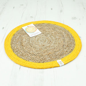 Round Seagrass & Jute Placemat - Natural/Yellow - The Wild Tree