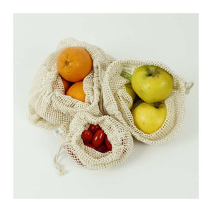 Set of 3 Organic Mesh Cotton Produce Bags