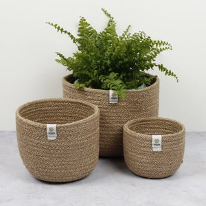 Set of 3 Tall Jute Baskets - Natural