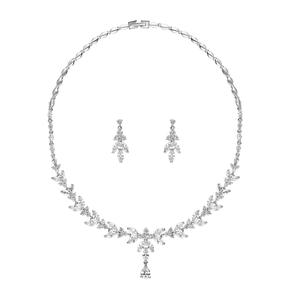 Bridal jewellery set, silver jewellery, necklace and earrings