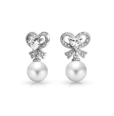 Charlotte Pearl and Cubic Zirconia Bow Earrings