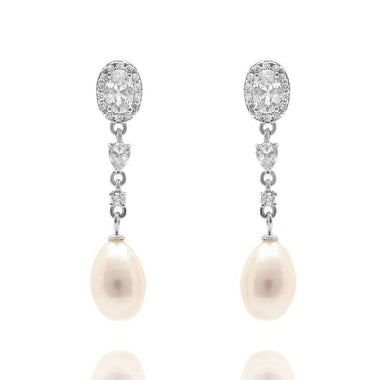 Clara 925 silver Ivory Freshwater Pearl and simulated diamond earrings