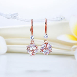 Solid 925 Rose Gold Plated Diamond Earrings