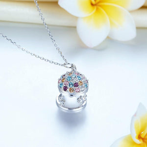 Multi-Color Merry-Go-Round Pendant Necklace Solid 925 Jewellery