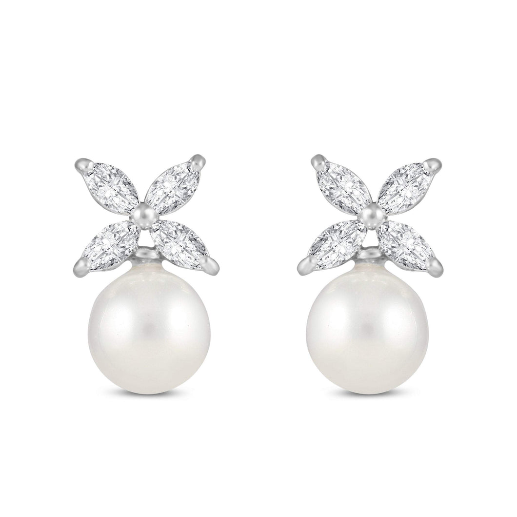 Fleur Pearl and Cubic Zirconia Earrings