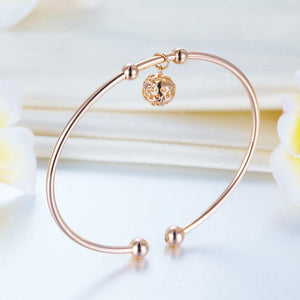Solid 18K/750 Rose Gold Flower Ball Bracelet