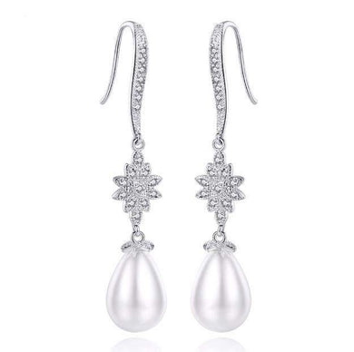 Olivia Pearl and Cubic zirconia earrings
