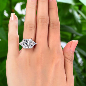 Solid 925 Three-Stone Luxury Ring