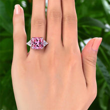 Load image into Gallery viewer, Solid 925 Three-Stone Luxury 8 Carat Fancy Pink Diamond Ring