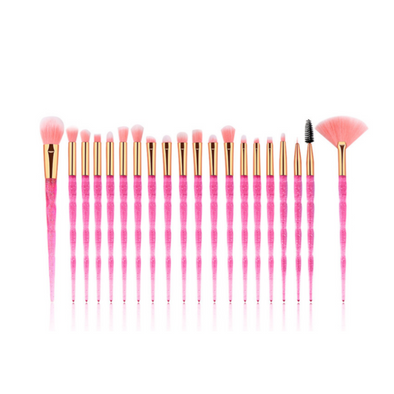 Hot Pink Unicorn 20 Piece Vegan Makeup Brush Set