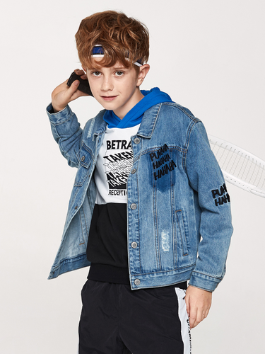 Boys Denim Jacket with Collar Fashion Jeans Jacket Teenager Boys Jacket Spring Autumn Clothes
