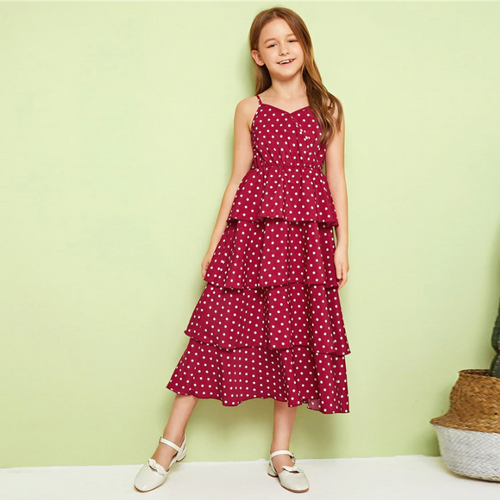 Dot Layered Ruffle Hem Girls Cami Dress