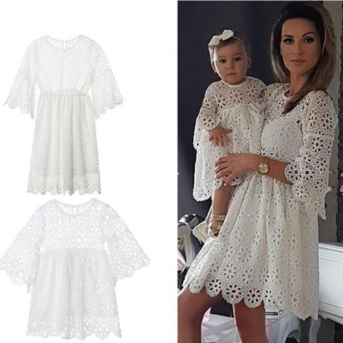 Parent-child Floral Lace Dress Long Flare Sleeve White Lace Hollow Out Flower Dress
