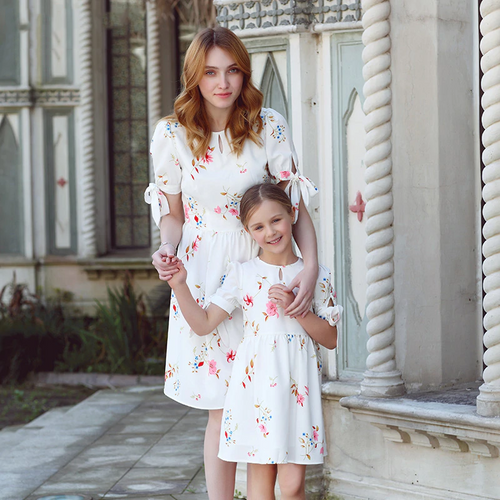 Family Dresses Flower Pattern Casual Dress
