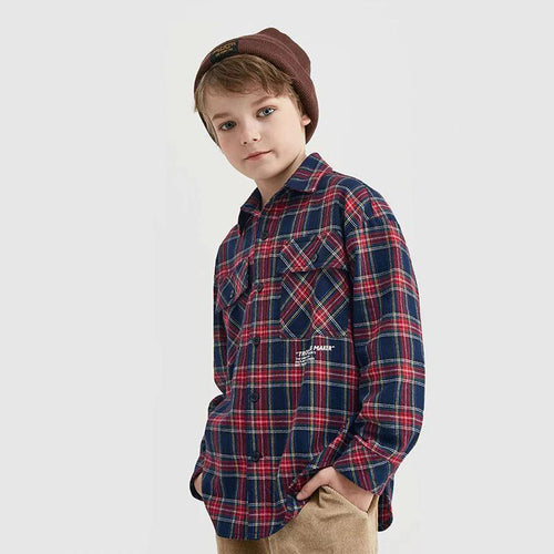 Children Clothes Loose Check Shirt
