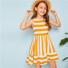 Load image into Gallery viewer, Yellow Striped Flounce Hem Cute Short Dress