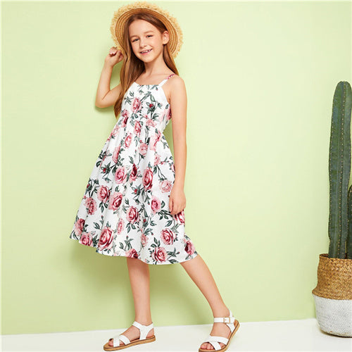 Girls Floral Print Zipper Dresses