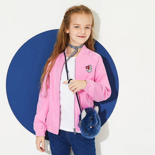 Girls Embroidered Baseball Jacket with Pocket Full-Zip Jacket Ribbed Baseball Collar Cuff and Hem for Teenage Girl