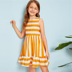 Yellow Striped Flounce Hem Cute Short Dress