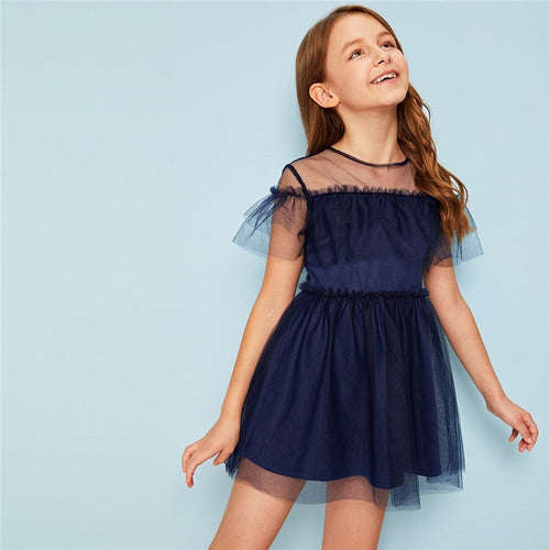 Girls Frilled Trim Mesh Overlay Dress