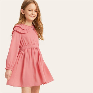Pink Layered Pleated Ruffle Girls Dress