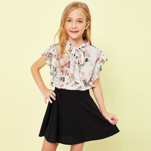 Tie Neck Ruffle Armhole Floral Print Girl Cute Blouse Children