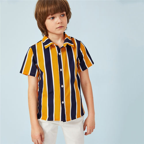 Boys Button Colorblock Striped Shirts