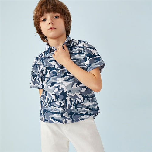 Boys Camouflage Print Casual Shirt