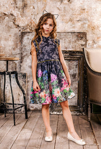 Girls Dress Flower Print Dress