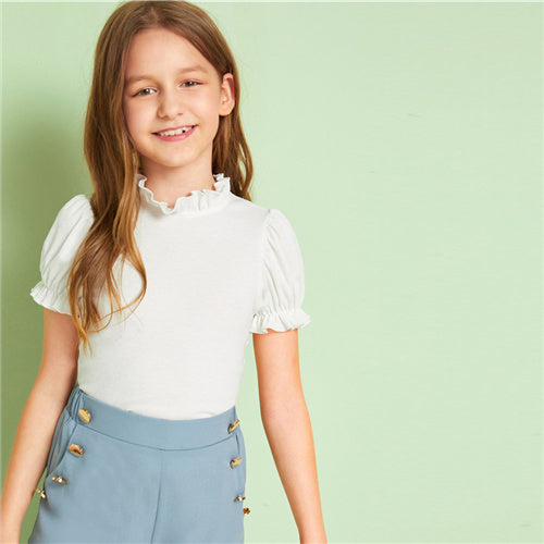 Frilled Trim Ribbed knit Girls T-Shirt