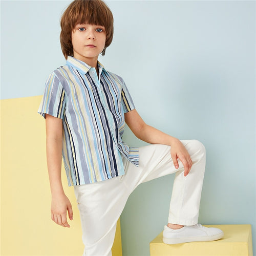 Single Button Front Striped Boys Shirts