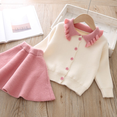 Girls Dress New Winter Princess Dress Long Sleeve Girls Clothes Top Coat+ Tutu Dress Kids Sweater Knitwear 2pcs