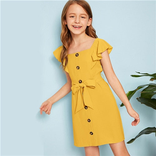 Girls Cute Dress Sleeve Zipper Dresses