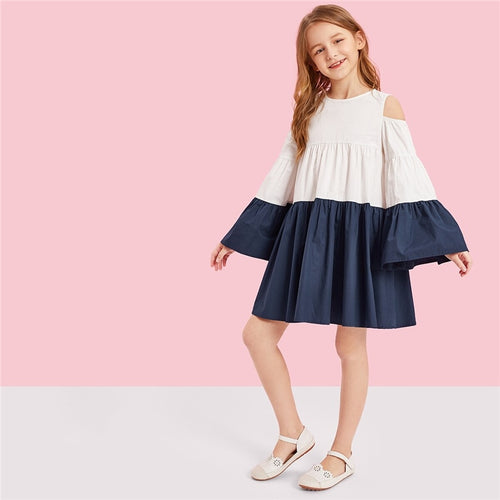 Girls Dress Kids Flounce Sleeve Dresses