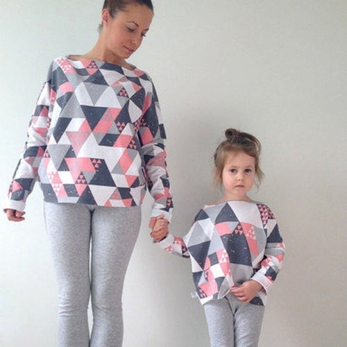 Family Matching Clothes Geometric Print Long Sleeve