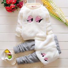 Load image into Gallery viewer, charming eyes girl's clothes Comfort Fleece Warm Kids clothing set