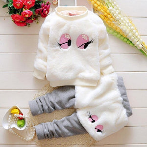 charming eyes girl's clothes Comfort Fleece Warm Kids clothing set