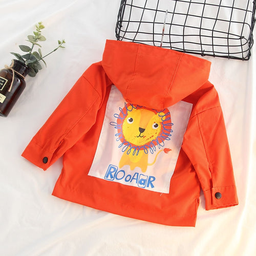 Baby Boys Windbreaker Toddler Cartoon Lion Jacket Children Hooded Outerwear Kids Coat Waterproof Jacket