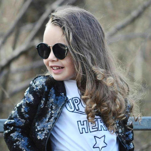 Children Toddler Coat Street Cool Concsie Casual Sequin Zipper Long Sleeve Solid Color Girl's Jackets Baby Girl Clothes