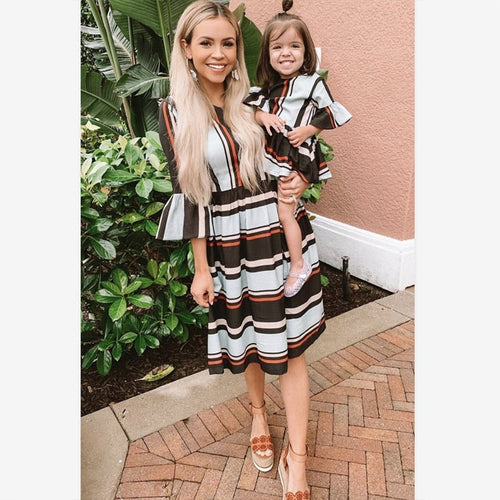 Striped Dresses Parent Child Outfits Clothes