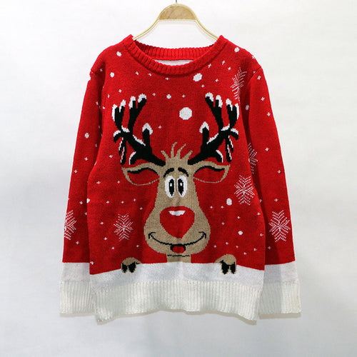 Christmas Sweater Pullover Long Sleeve Jumper Loose Female Causal Winter Sweater