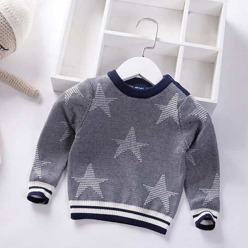 Spring Autumn Kids Knitted Pullover for Boys Star Cotton Children Sweater Toddler Pullover